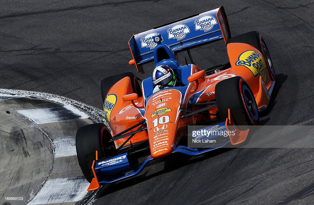 <a gi-track='captionPersonalityLinkClicked' href=/galleries/search?phrase=Dario+Franchitti&family=editorial&specificpeople=171306 ng-click='$event.stopPropagation()'>Dario Franchitti</a> of Scotland, drives the #10 Target Chip Ganassi Racing Banana Boat Honda during qualifying for the Honda Indy Grand Prix of Alabama at Barber Motorsports Park on April 6, 2013 in Birmingham, Alabama.