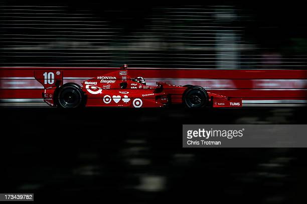 Dario Franchitti of Scotland drives the Target Chip Ganassi Racing Honda during a warm up session for the IZOD INDYCAR Series Honda Indy Toronto Race...
