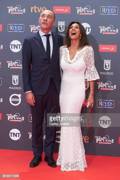 Dario Grandinetti and Pastora Vega attend the Platino Awards 2017 photocall at the La Caja Magica on July 22 2017 in Madrid Spain