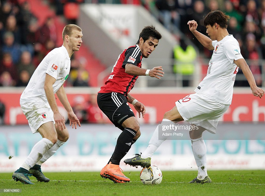 Dario Lecanzo Farina of Ingolstadt 04 in action during the Bundesliga match between FC Ingolstadt and FC Augsburg at Audi Sportpark on February 6, 2016 in Ingolstadt, Germany.