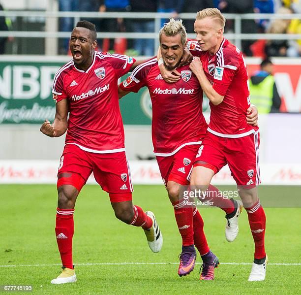 Dario Lezcano Farina and his team mates Bernardo de Oliveira and Florent Hadergjonaj of FC Ingolstadt 04 celebrate the second goal during the...