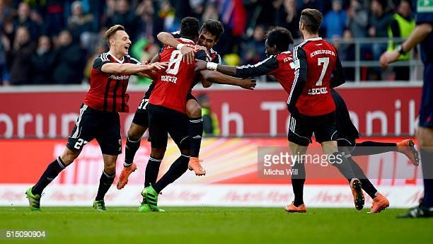 Dario Lezcano Farina of Ingolstadt celebrates after scoring his team's third goal during the Bundesliga match between FC Ingolstadt and VfB Stuttgart...