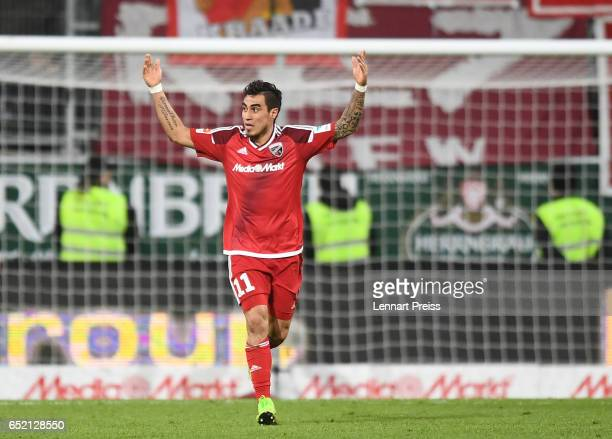 Dario Lezcano of FC Ingolstadt celebrates his side's first goal during the Bundesliga match between FC Ingolstadt 04 and 1 FC Koeln at Audi Sportpark...