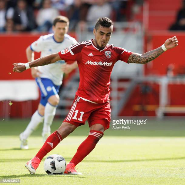 Dario Lezcano of Ingolstadt 04 misses a penalty during the Bundesliga match between FC Ingolstadt 04 and FC Schalke 04 at Audi Sportpark on May 20...