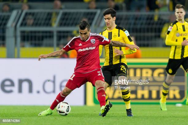 Dario Lezcano of Ingolstadt and Mikel Merino of Dortmund battle for the ball during the Bundesliga match between Borussia Dortmund and FC Ingolstadt...
