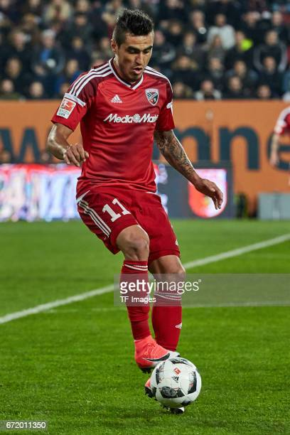 Dario Lezcano of Ingolstadt controls the ball during the Bundesliga match between FC Augsburg and FC Ingolstadt 04 at WWK Arena on April 5 2017 in...