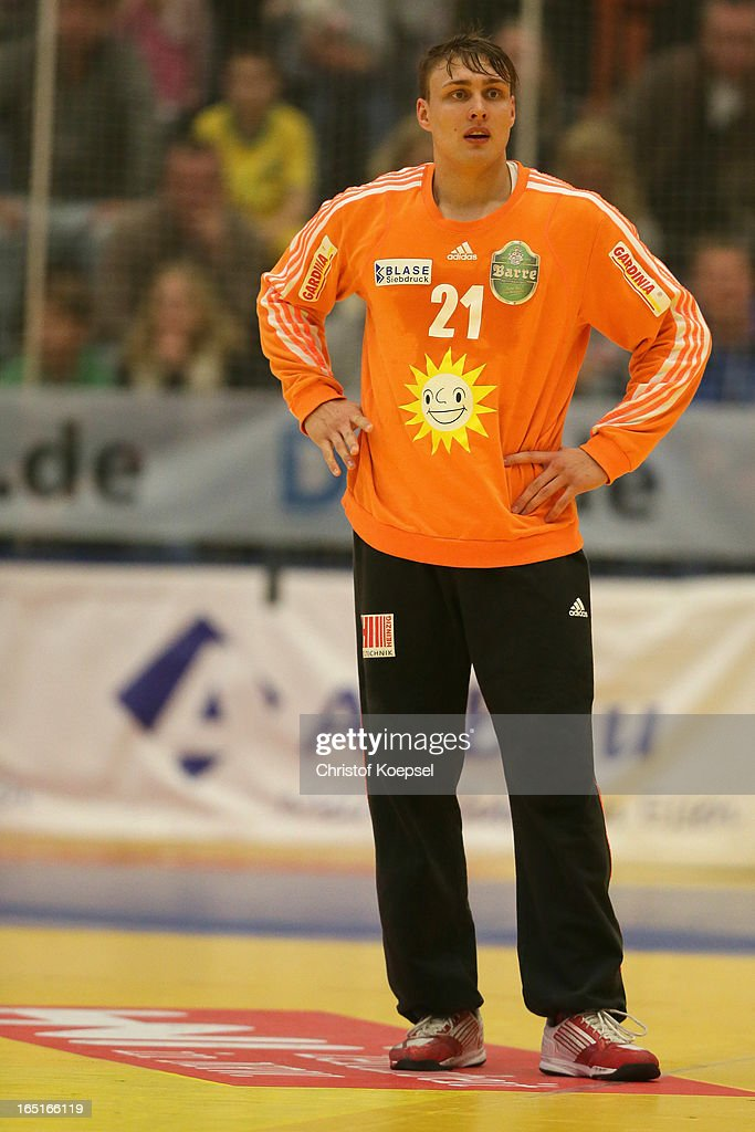 Dario Quenstedt of Tus N-Luebbecke looks on during the DKB Handball Bundesliga match between TUSEM Essen and Tus N-Luebbecke at the Sportpark Am Hallo on March 31, 2013 in Essen, Germany.