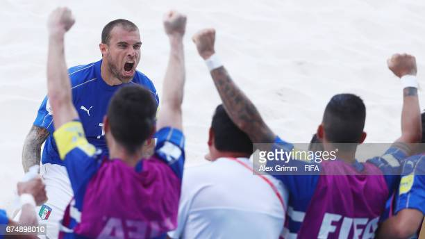 Dario Ramacciotti of Italy celebrates a goal with team mates during the FIFA Beach Soccer World Cup Bahamas 2017 group B match between Italy and Iran...