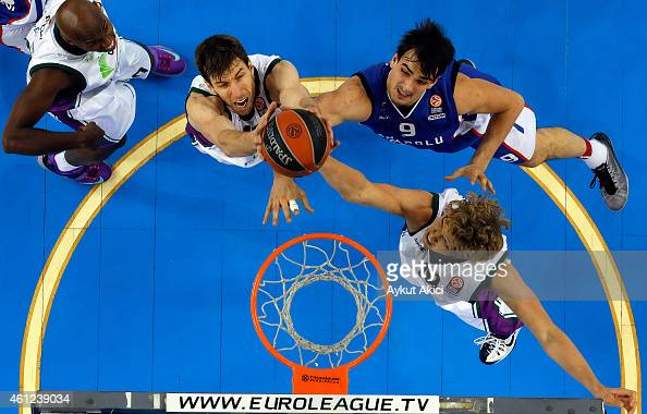 Dario Saric #9 of Anadolu Efes Istanbul in action during the Euroleague Basketball Top 16 Date 2 game between Anadolu Efes Istanbul v Unicaja Malaga...