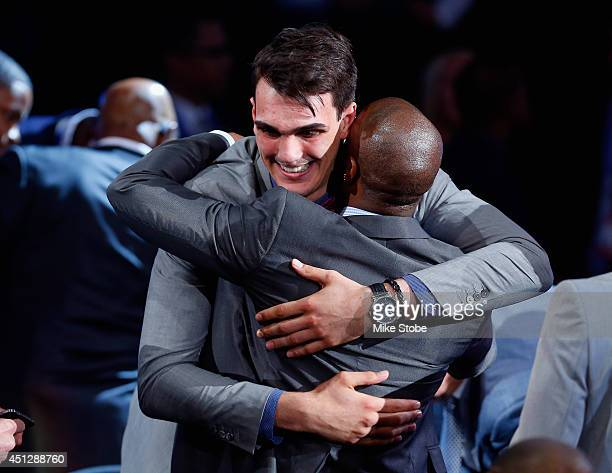 Dario Saric of Croatia celebrates after being drafted with the overall pick by the Orlando Magic during the 2014 NBA Draft at Barclays Center on June...
