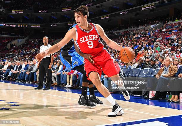 Dario Saric of the Philadelphia 76ers dribbles baseline against Orlando Magic during a game at the Wells Fargo Center on November 1 2016 in...