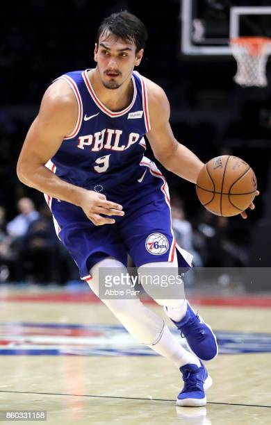 Dario Saric of the Philadelphia 76ers drives to the basket in the second quarter against the Brooklyn Nets during their Pre Season game at Nassau...