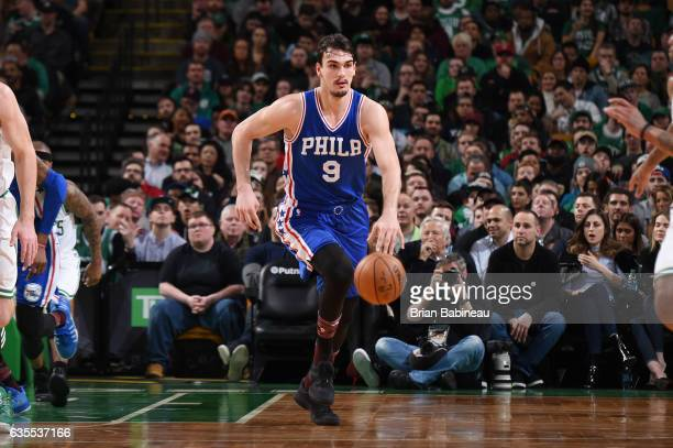 Dario Saric of the Philadelphia 76ers handles the ball during a game against the Boston Celtics on February 15 2017 at TD Garden in Boston...