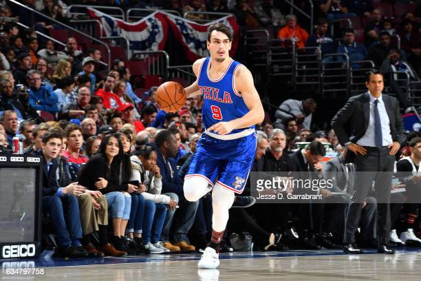 Dario Saric of the Philadelphia 76ers handles the ball during the game against the Miami Heat on February 11 2017 at Wells Fargo Center in...