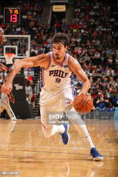 Dario Saric of the Philadelphia 76ers handles the ball during the preseason game against the Miami Heat on October 13 2017 at Sprint Center in Kansas...