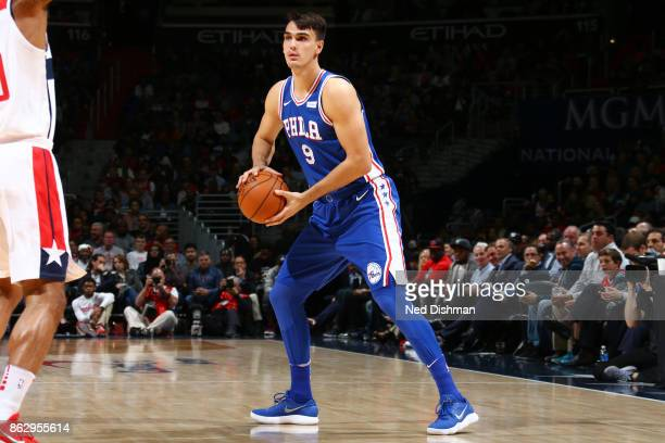 Dario Saric of the Philadelphia 76ers handles the ball during the 201718 regular season game against the Washington Wizards on October 18 2017 at...
