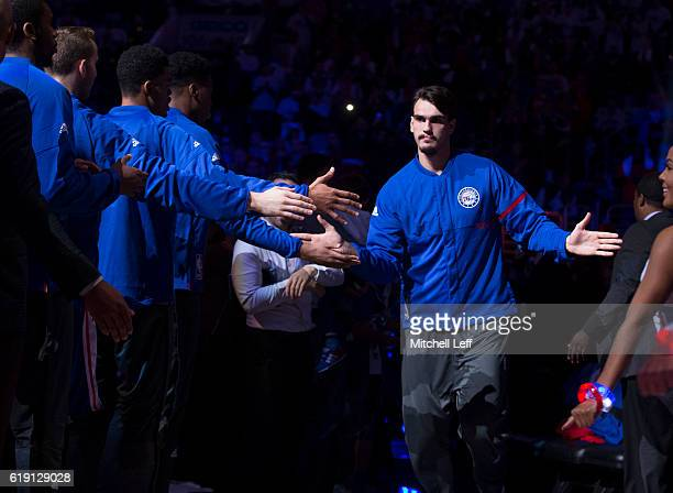 Dario Saric of the Philadelphia 76ers is introduced prior to the game against the Oklahoma City Thunder at Wells Fargo Center on October 26 2016 in...