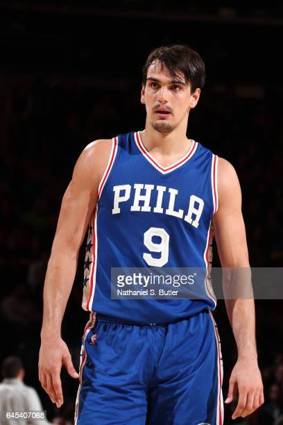 Dario Saric of the Philadelphia 76ers looks on during the game against the New York Knicks on February 25 2017 at Madison Square Garden in New York...