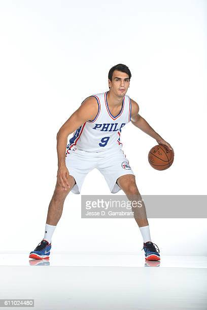 Dario Saric of the Philadelphia 76ers poses for a portrait at the Philadelphia 76ers Training Complex during NBA media day on September 262016 in...