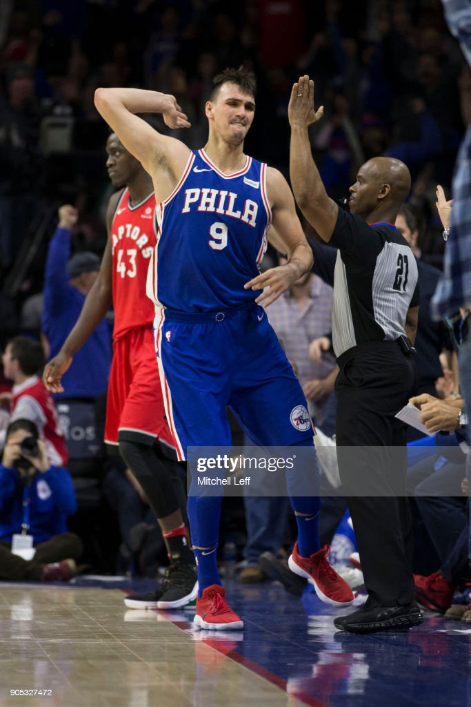 Dario Saric #9 of the Philadelphia 76ers reacts after making a three point basket against Pascal Siakam #43 of the Toronto Raptors in the fourth quarter at the Wells Fargo Center on January 15, 2018 in Philadelphia, Pennsylvania. The 76ers defeated the Raptors 117-111.