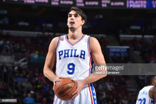 Dario Saric of the Philadelphia 76ers shoots a foul shot against the Milwaukee Bucks at Wells Fargo Center on March 6 2017 in Philadelphia...