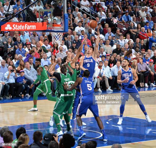 Dario Saric of the Philadelphia 76ers shoots the ball against the Boston Celtics during the game on October 20 2017 at Wells Fargo Center in...