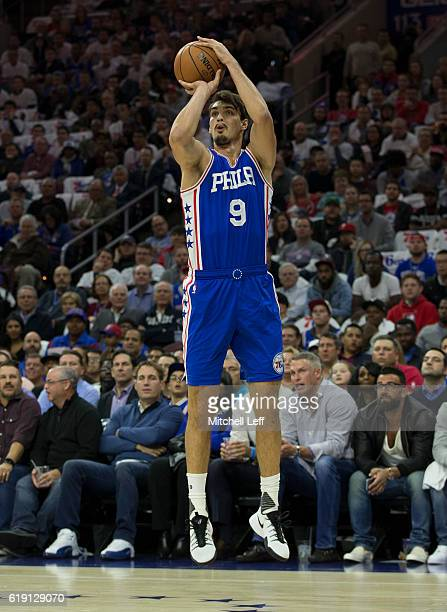 Dario Saric of the Philadelphia 76ers takes a shot against the Oklahoma City Thunder at Wells Fargo Center on October 26 2016 in Philadelphia...