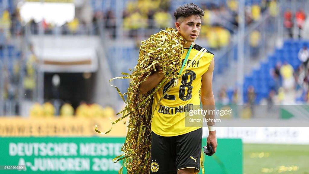 Dario Scuderi of Dortmund celebrates after the A Juniors German Championship Final match between 1899 Hoffenheim U19 and Borussia Dortmund U19 at Wirsol Rhein-Neckar-Arena on May 29, 2016 in Sinsheim, Germany.