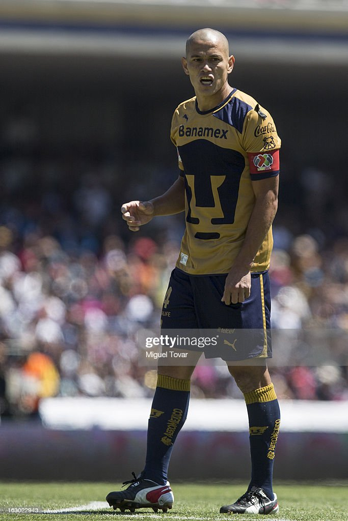 Dario Veron of Pumas reacts during a match between Pumas and Chivas as part of Clausura 2013 Liga MX at Olympic Stadium on March 03, 2013 in Mexico City, Mexico.