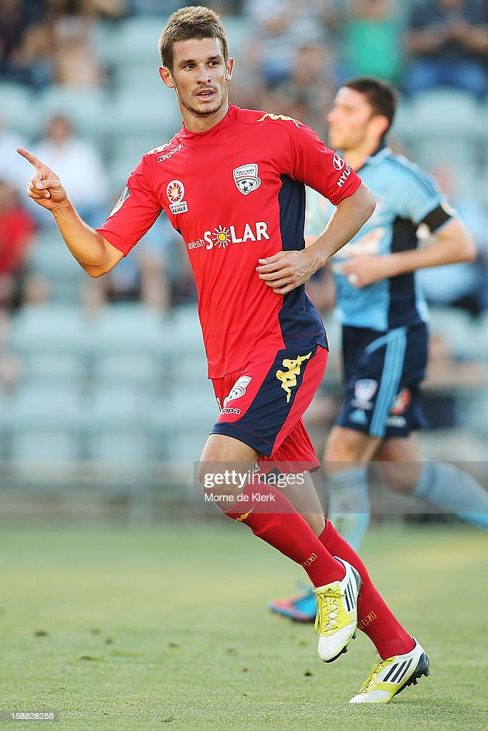 Dario Vidosic of Adelaide celebrates after scoring a goal during the round 14 A-League match between Adelaide United and Sydney FC at Hindmarsh Stadium on December 31, 2012 in Adelaide, Australia.