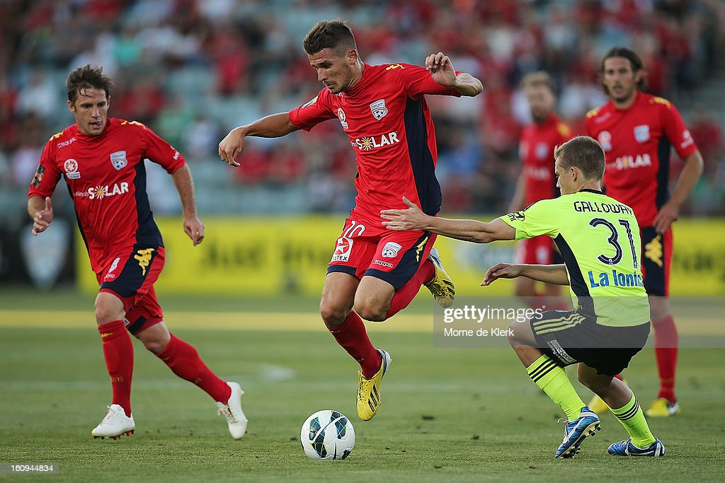Dario Vidosic of Adelaide wins the ball during the round 20 A-League match between Adelaide United and the Melbourne Victory at Hindmarsh Stadium on February 8, 2013 in Adelaide, Australia.
