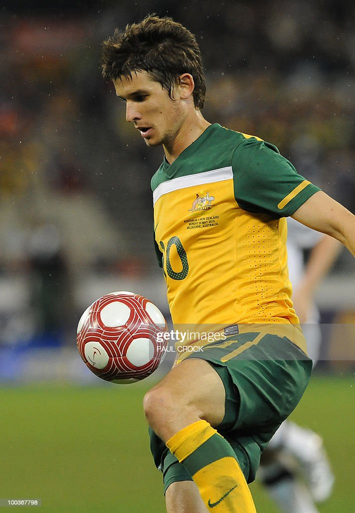 Dario Vidosic of Australia controls the ball during their friendly international football match against New Zealand in Melbourne on May 24, 2010. Australia won the match 2-1. RESTRICTED
