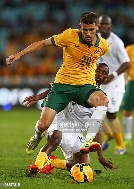 Dario Vidosic of the Socceroos controls the ball during the International Friendly match between the Australian Socceroos and South Africa at ANZ...