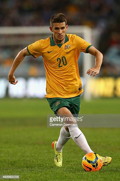 Dario Vidosic of the Socceroos dribbles the ball during the International Friendly match between the Australian Socceroos and South Africa at ANZ...