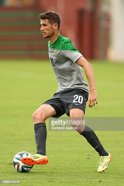 Dario Vidosic of the Socceroos kicks during a training match between the Australian Socceroos and Parana Clube at Arena Unimed Sicoob on June 2 2014...