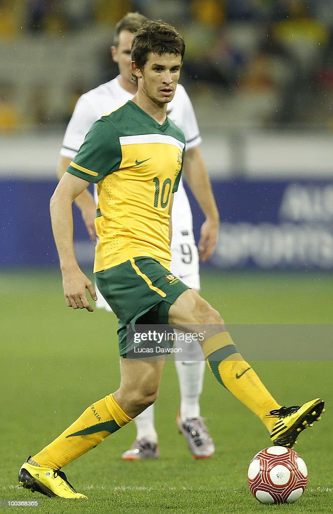 Dario Vidosic of the Socceroos stops the ball during the 2010 FIFA World Cup Pre-Tournament match between the Australian Socceroos and the New Zealand All Whites at Melbourne Cricket Ground on May 24, 2010 in Melbourne, Australia.