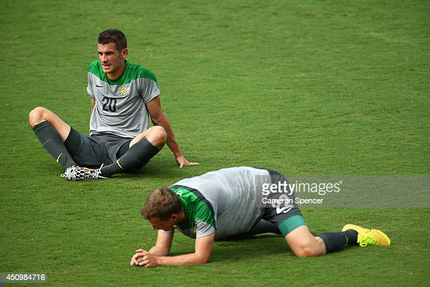 Dario Vidosic of the Socceroos stretches during an Australian Socceroos training session and press conference at Arena Unimed Sicoob on June 21 2014...