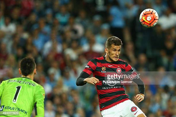 Dario Vidosic of the Wanderers heads the ball during the round three ALeague match between Sydney FC and Western Sydney Wanderers at Allianz Stadium...