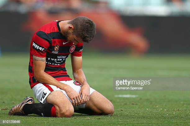 Dario Vidosic of the Wanderers looks dejected after an attempt at goal during the round 19 ALeague match between the Western Sydney Wanderers and the...