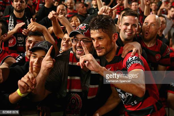 Dario Vidosic of the Wanderers poses with fans after winning the ALeague Semi Final match in extra time between the Western Sydney Wanderers and the...