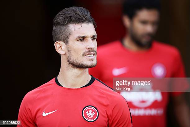 Dario Vidosic of the Wanderers prepares during a Western Sydney Wanderers ALeague training session at Pirtek Stadium on April 28 2016 in Sydney...
