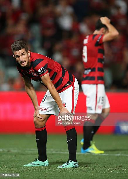 Dario Vidosic of the Wanderers reacts after a missed goal opportunity during the round 24 ALeague match between the Western Sydney Wanderers and...