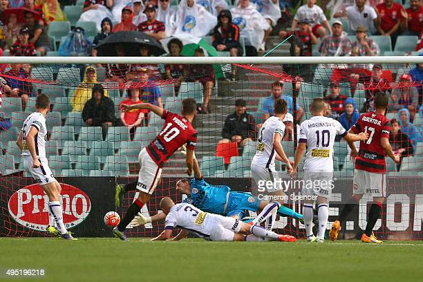 Dario Vidosic of the Wanderers scores a goal during the round four ALeague match between the Western Sydney Wanderers and Perth Glory at Pirtek...