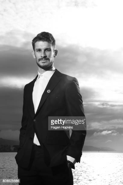 Dario Vidosic poses during a Wellington Phoenix ALeague media announcement at Wharewaka Function Centre on August 10 2017 in Wellington New Zealand