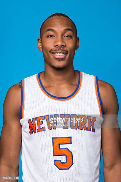 Darion Atkins of the New York Knicks poses for a head shot at media day at the MSG Training Facility in Greenburgh New York on September 28 2015 NOTE...