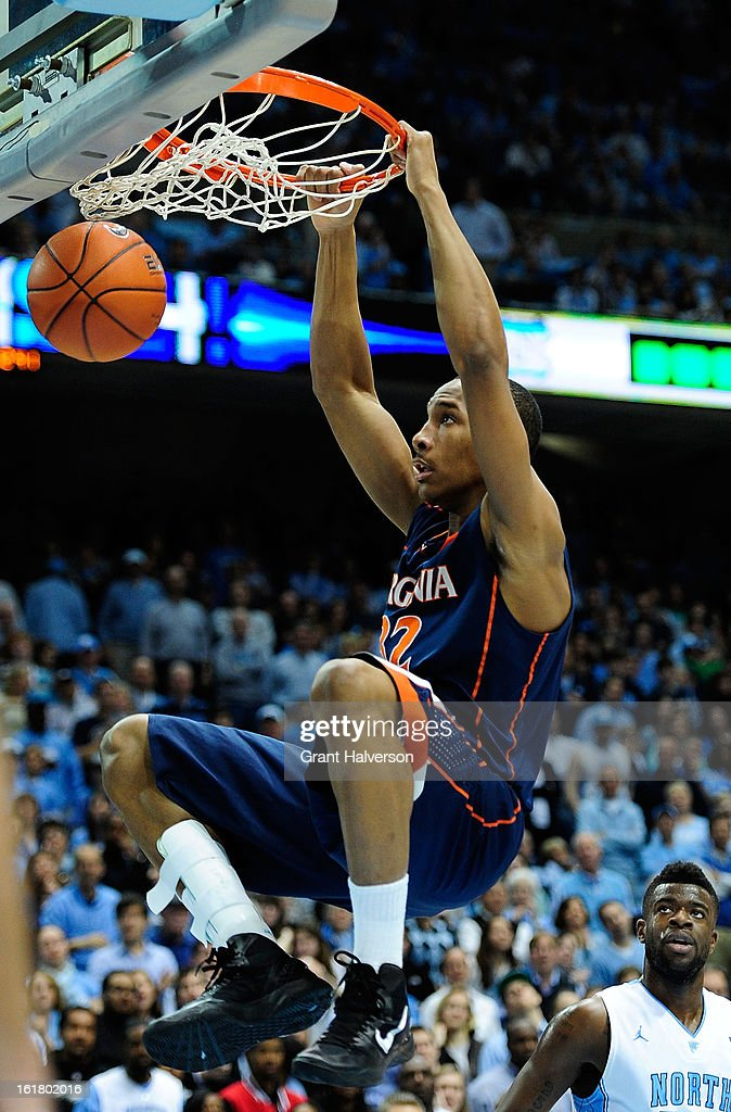 Darion Atkins #32 of the Virginia Cavaliers dunks against the North Carolina Tar Heels during play at the Dean Smith Center on February 16, 2013 in Chapel Hill, North Carolina. North Carolina won 93-81.