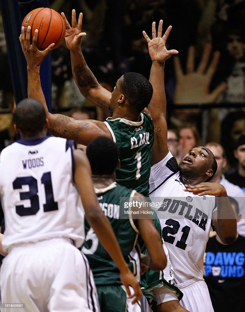 Darion Clark #1 of the Charlotte 49ers shoots the ball as Roosevelt Jones #21 of the Butler Bulldogs defends at Hinkle Fieldhouse on February 13, 2013 in Indianapolis, Indiana. Charlotte defeated Butler 71-67.