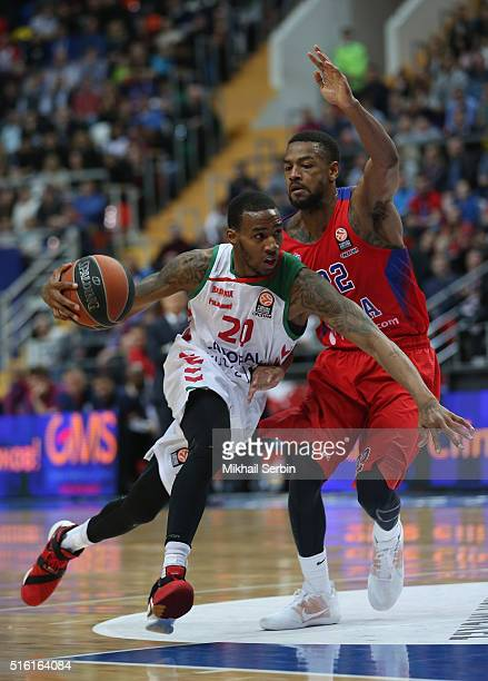 Darius Adams #20 of Laboral Kutxa Vitoria Gasteiz competes with Cory Higgins #22 of CSKA Moscow in action during the 20152016 Turkish Airlines...