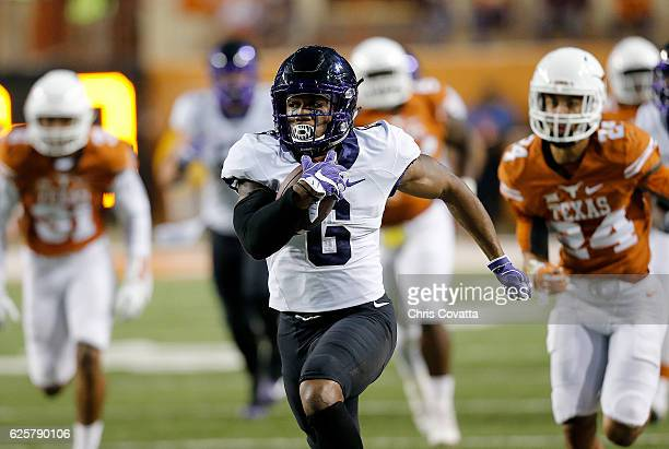 Darius Anderson of the TCU Horned Frogs runs for a touchdown against the Texas Longhorns at Darrell K Royal Texas Memorial Stadium on November 25...