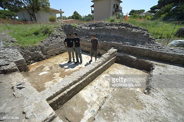 Darius Arya in charge of the excavation for the American Institute for Roman Culture presents a marble floor as part of the last discoveries at the...